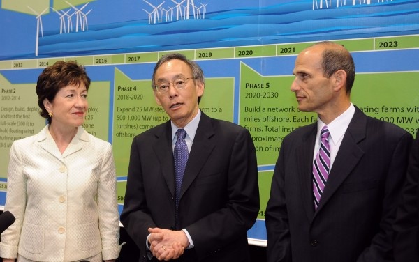 U.S. Secretary of Energy Steven Chu (center) with U.S. Sen. Susan Collins (left) and Governor John Baldacci during their visit to the Advanced Structures and Composites Center at the University of Maine in Orono in June 2010.