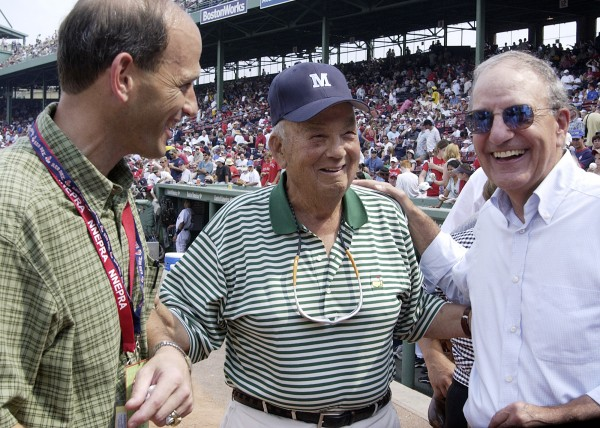 Maine Gov. John Baldacci (left) and former U.S. Sen. George Mitchell (right) talk with Maine philanthropist Harold Alfond before the start of the game between the Detroit Tigers and the Boston Red Sox during Maine Appreciation Day at Fenway Park in Boston in 2004. Alfond threw out the first pitch and the Red Sox went on to beat the Tigers 6-1.