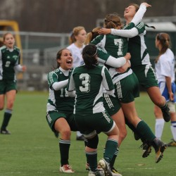 The Fort Kent girls soccer team celebrates its only goal against Sacopee on Saturday, November 6, 2010 at Hampden. Sacope went on to win in overtime 2-1 to claim the Class C state title. (Bangor Daily News/Kevin Bennett)