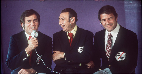 From left, Don Meredith, Howard Cosell and Frank Gifford on 'Monday Night Football' on ABC in 1973.