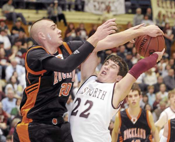 Luke Morrill of Rockland (left), shown during a Class B basketball tournament game last season, has opted to forgo his senior basketball season to concentrate on developing his baseball skills. Morrill will attend the University of Maine in 2011.