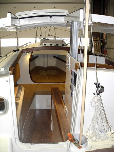 The view from the cockpit of a Presto 30, built at the Union River Boat Co. and marketed by Ryder Boats, both of Bucksport, shows a roomy cabin area that can sleep a family of four. The centerboard cruiser, the first new design for Ryder Boats, was recognized by SAIL Magazine recently as one of it top boats for 2011. BANGOR DAILY NEWS PHOTO BY RICH HEWITT