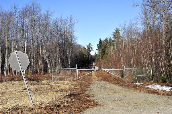 The access-way for the proposed communications tower sits amid a residential area off Jackson Drive and Buck Hill Rd in Veazie. This view looks roughly North, parallel to I-95. Bangor Daily NEws/Michael C. York