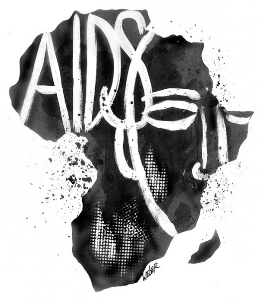 This artwork by Mark Weber relates to Africa's AIDS pandemic.