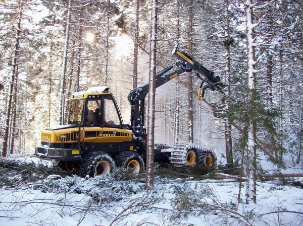 An operator works with a harvester on Prentiss and Carlisle-managed client land in Castine in the winter fo 2008. (Photo courtesy of Prentiss & Carlisle)