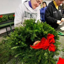 Volunteers escort wreaths from Hermon destined for Arlington
