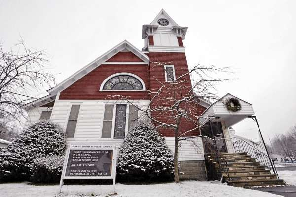 An exterior view of Park Street United Methodist Church in Milo. On Sunday , Dec. 5, 2010 members of the church worshipped in their sanctuary for the first time since a fire damaged the church in June 2009. (Bangor Daily News/John Clarke Russ)