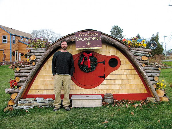 Thorndike carpenter Rocy Pillsbury has launched a new business, Wooden Wonders. He constructs 'hobbit hole' playhouses, garden sheds and other structures.