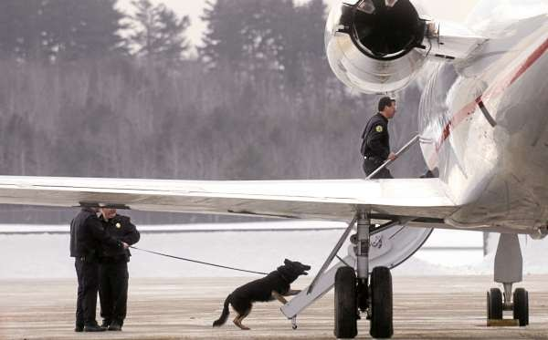 The Bangor Police Bomb Squad was called to the Bangor International Airport to investigae a suspicious package Saturday early afternoon. (Bangor Daily News/Gabor Degre)