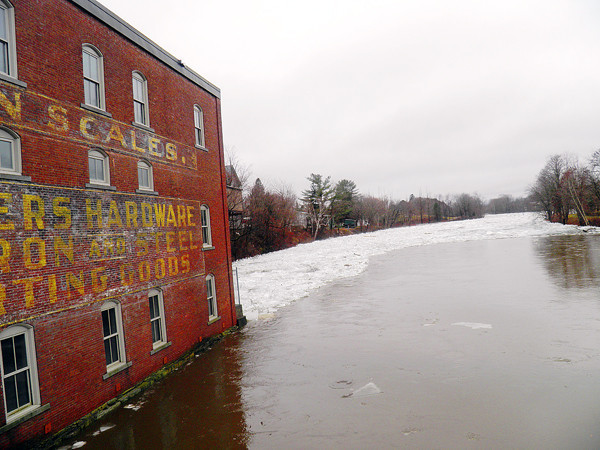 After heavy rains overnight saturated the area, a large ice jam formed Monday morning on the Piscataquis River in Guilford. (Photo courtesy of Julie Porter-Chase)