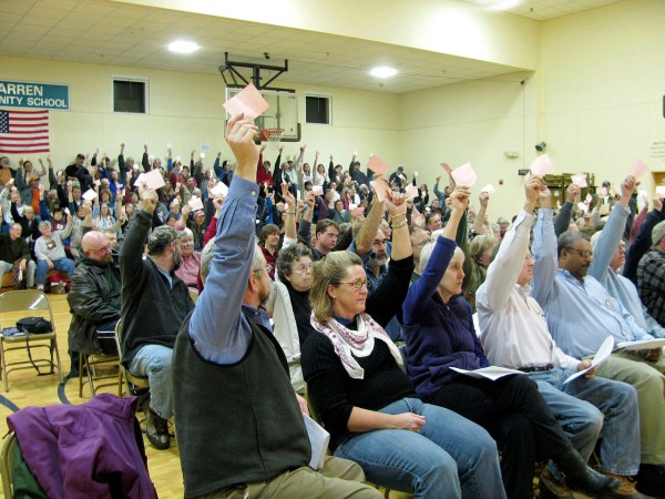 Warren residents vote in favor of a moratorium on methadone clinics last year at a special town meeting held at the Warren Community School gymnasium. Only one person voted against the moratorium.