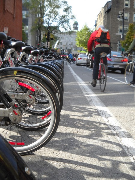 A fleet of Bixi Bikes awaits riders at the Bixi station near McGill University in Montreal. (Photo by Julia Bayly)