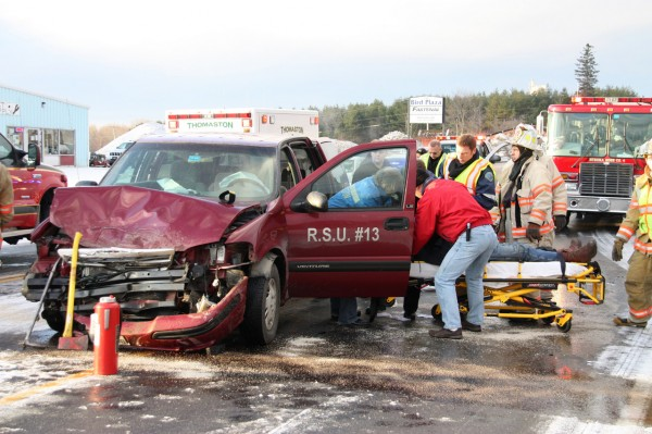 Rockland EMS responded, as mutual aid, to a motor vehicle accident at Route 1 and Dexter Street at 7:45 a.m. Friday, Dec. 17, 2010.  Photo courtesy of Rockland Fire Department/Alan Athearn)