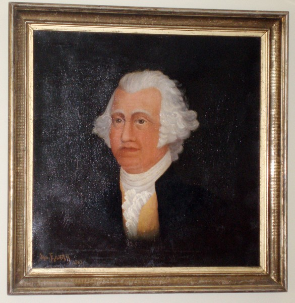 This portrait of George Washington was painted in 1865 by Bucksport resident James Emery and donated to the town. For the past three decades it has been displayed at the unheated Bucksport Historical Society building, where the paint has been damaged by the cold. The town has restored the painting and it will now hang in the council chambers at the town office building. (Bangor  Daily News Photo by Rich Hewitt)