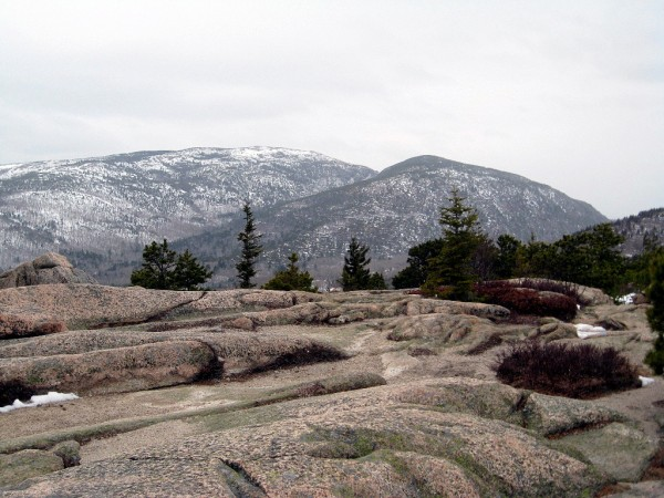 Winter campers and hikers enjoy winter scenery like in this view of Cadillac Mountain on the left and Dorr Mountain on the right in Acadia National Park taken last February. (Photo by Brad Viles)