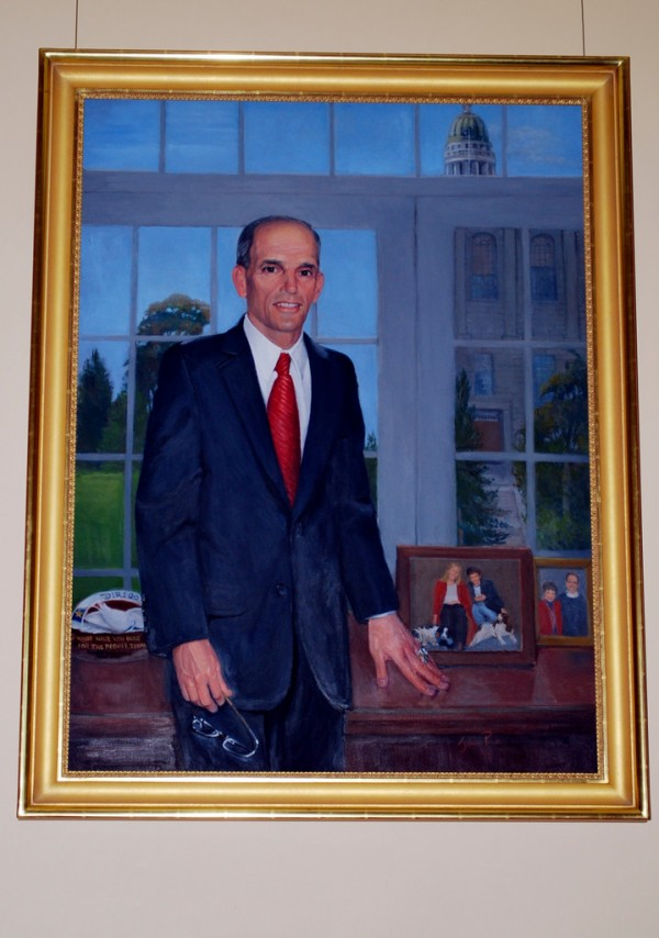 This photo provided by the Maine Governors office shows the official portrait of Governor John E. Baldacci unveiled at the Maine State House in Augusta on Saturday, Dec. 18, 2010.  (AP Photo/Maine Governors Office, Tiffany Bates)