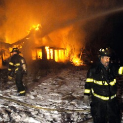 Nine Maine fire departments fight house and barn fire