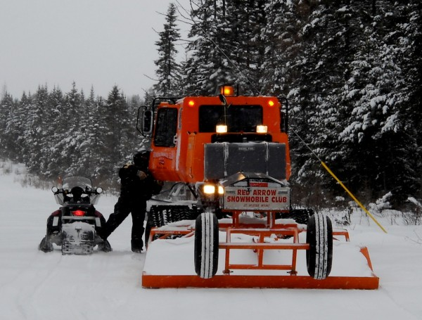 Groomers are out taking care of more than 13,500 miles of snowmobile trails in Maine regardless of weather. The best time for these trail tenders is late evenings when there is less traffic and colder temperatures allow the trails to harden. (PHOTO SPECIAL TO THE BANGOR DAILY NEWS  BY JULIA BAYLY)