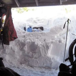 This photo taken from inside the lean-to at Chimney Pond on March 6/2010 shows the snow depth. Entrance to the lean-to had to be dug out from the right side of this photo. Brad Viles photo