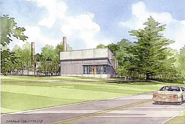 An artists' rendering depicts what Colby College's $11.25 million biomass boiler building will look like when construction is completed next year. The building, which will consume some 22,000 tons of wood materials per year, includes a glassed corner so pedestrians can see the boiler's inner workings. Colby estimates it will save more than $1 million a year on heating oil after the project is complete. Image courtesy of Colby College
