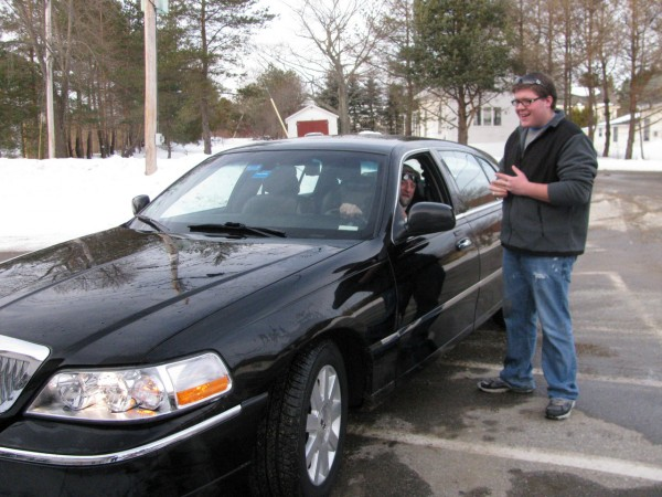 Searsport high school student Zach Parker gets ready to head to Boston Thursday, Dec. 30, where he will be featured Friday on the national Fox & Friends morning program to talk about his efforts to ban protests at military funerals. The network sent a Lincoln Town Car to the Searsport Public Safety Building to pick up the Frankfort teen, whose plan stemmed from a class history project and is aimed at the Westboro Baptist Church, a Kansas congregation that protests at soldiers' funerals around the country. &quotI never expected it to go national,&quot Parker said. (Bangor Daily News/ Abigail Curtis)
