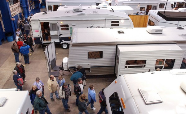 HAPPY CAMPERS   People look at campers and RVs at the Bangor Auditorium on Saturday during the annual camper and RV show. (BANGOR DAILY NEWS PHOTO BYT GABOR DEGRE)