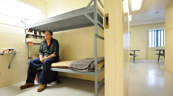Timothy Hastey, 46, of Glenburn in his cell at the Penobscot County Jail.  He said that there is a noticable diference when there is more inmates at the Penobscot County Jail.  A small cell such as the one Hastey stays in was originaly intended to house one person but several years ago extra bunks were installed to make it possible to house more inmates at the jail.  The variance in the population will end on January 1st 2011. (Bangor Daily News/Gabor Degre)
