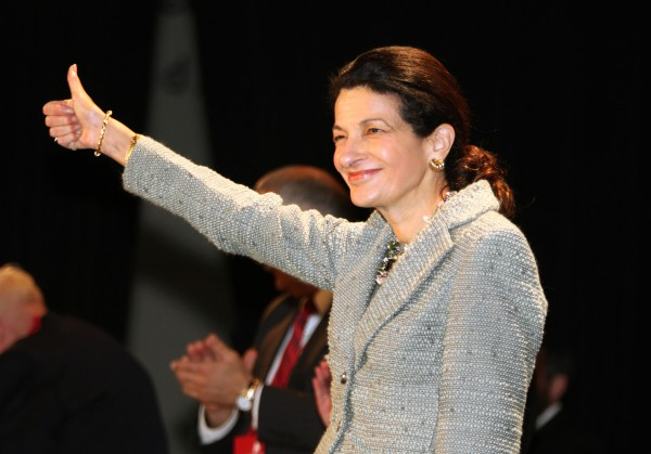 Sen. Olympia Snowe, R-Maine, gestures after speaking the Maine Republican State Convention in June.