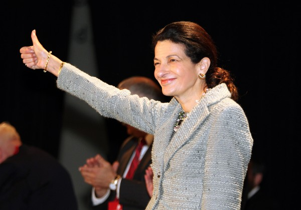 Sen. Olympia Snowe, R-Maine, gestures after speaking at the opening day of the Maine Republican State Convention in Portland in May. Republicans are looking to unseat the moderate senator during the 2012 GOP primary to keep more conservatives in office.