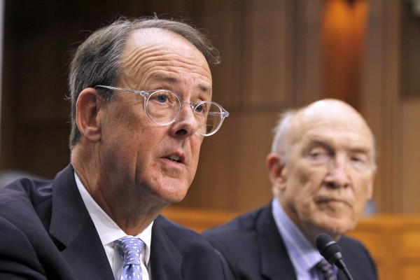 Debt Commission co-chairmen Erskine Bowles, left, and former Wyoming Sen. Alan Simpson, speak to the media after a meeting of the commission on Capitol Hill in Washington on Wednesday.