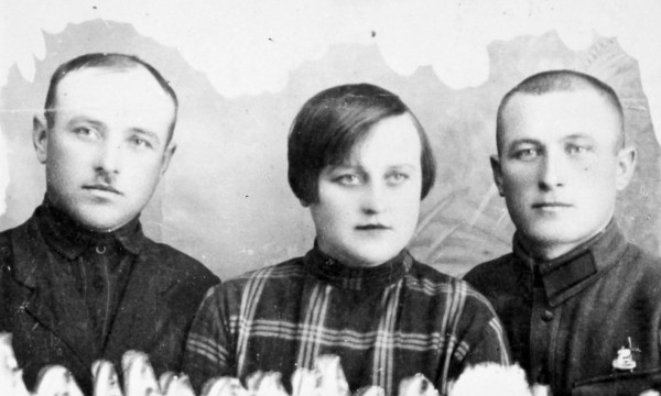 Philomene Keller and her two brothers that she never saw again after they parted in Odessa, where they had this photograph made when they met by chance.