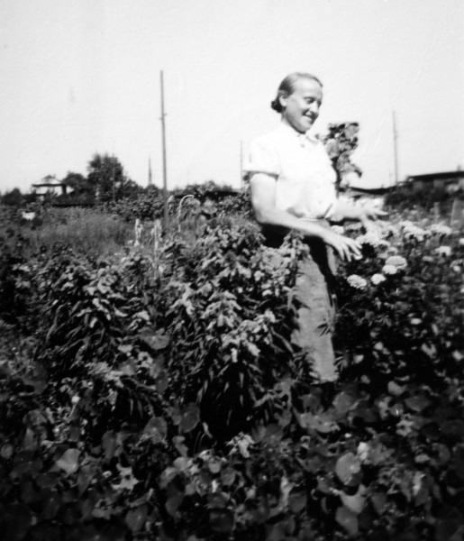 Philomena's mother working in farm fields in Bayreuth, c. 1945