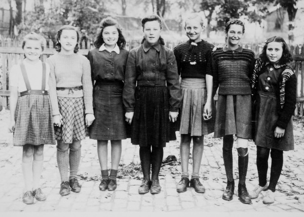 The seven girls (Philomena in the center) who passed the test for entry into gymnasium,  c. 1947.