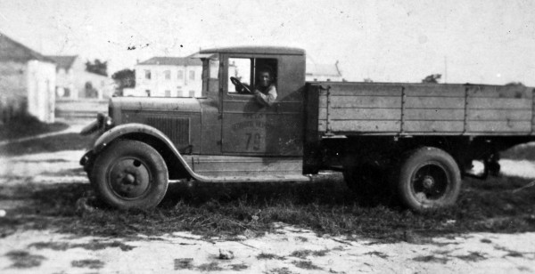 Wasja Semenenko in his truck in the country outside Odessa.