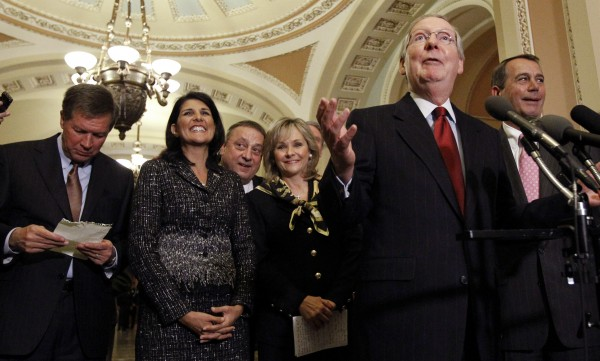 Senate Republican Leader Mitch McConnell, R-Ky., second from right, speaks as Ohio Gov.-elect John Kasich, left, stands with South Carolina Gov.-elect Nikki Haley, Maine Gov.-elect Paul LePage, Oklahoma Gov.-elect Mary Fallin, and House Speaker-designate John Boehner, R-Ohio, right, listen after their meeting on Capitol Hill.