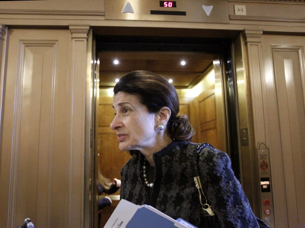 Sen. Olympia Snowe, R-Maine, walks on Capitol Hill in Washington on Thursday, Dec. 16, 2010. Snowe voted with the Senate majority to pass a tax cut measure that also was passed by the House late Thursday night.