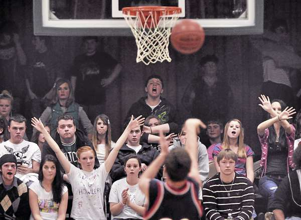 Penquis' Bryan Russell sinks free throws from a technical foul called against PVHS in the second half despite the packed house against him in their game in Howland Thursday, Jan. 6, 2011. (Bangor Daily News/Michael C. York)