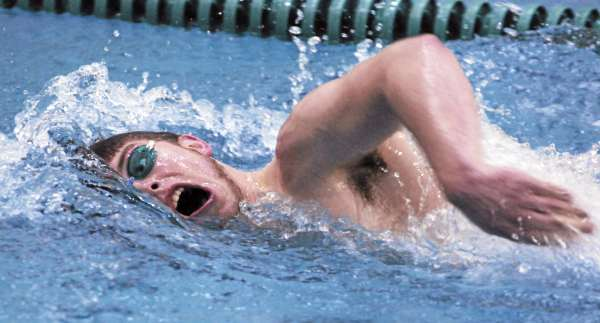 Brewer's Mark Moellentin competes in the boys 200 yard freestyle event against Bangor at Husson University on Friday, January 7, 2011. Bangor won the meet 119-65. (BDN Photo by Kevin Bennett)