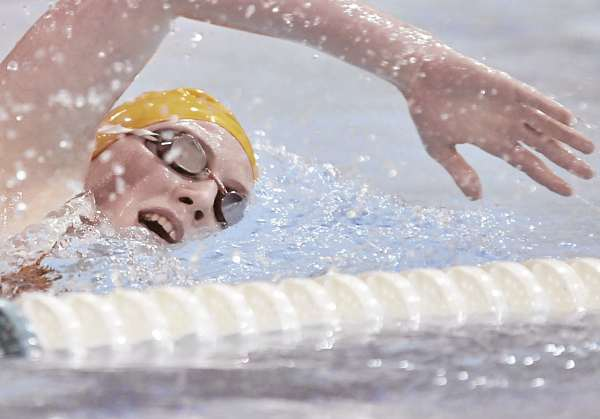Brewer swimmer Nanna Havshoei competes in the freestyle leg of the 200 individual medley in their meet against Bangor at the YWCA pool in Bangor, Saturday, Jan. 8, 2011. Havshoei won the event in 2 minutes, 31.45 seconds.