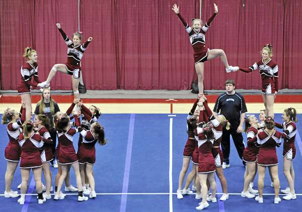 The Bangor High School squad starts its routine in the KVAC Cheering Championships at the Augusta Civic Center Monday. Bangor finished fifth.