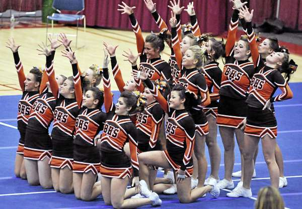 The Brewer High School squad reacts to applause at the end of its routine in the KVAC Cheering Championships at the Augusta Civic Center on Monday. Brewer finished third.