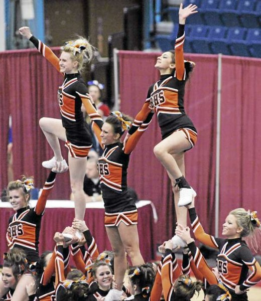 The Brewer High School squad competes during their routine in the KVAC Cheering Championships at the Augusta Civic Center Monday, Jan. 17, 2011. Brewer finished third.