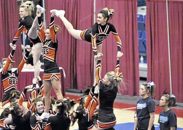 Brewer High School performs its routine in the KVAC Cheering Championships on Monday at the Augusta Civic Center. Brewer took third in Class A.
