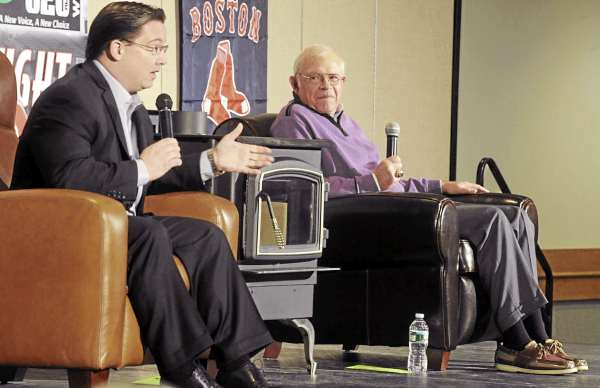 Boston Red Sox radio announcers Dave O'Brien (left) and Joe Castiglione talk to fans Red Sox during the WZON Hot Stove Baseball Night at the Bangor Civic Center Monday evening.
