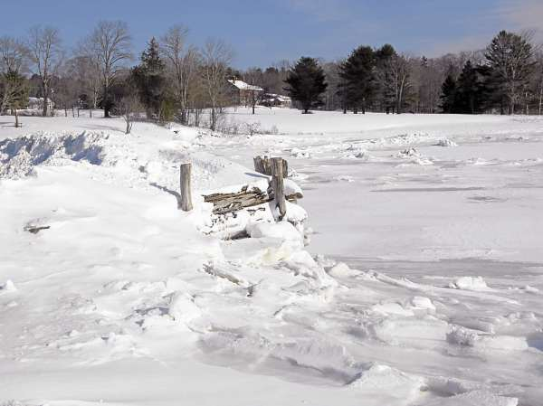 The in-town wharf in Blue Hill was mostly hidden under piles of snow on Friday, Jan. 28, 2011. The selectmen are seeking a state permit to rebuild the dock later this year.