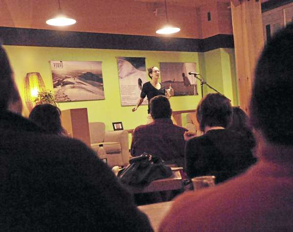 Anya Rose gets things started at the Moth Up storytelling program held Jan. 9 at Verve in Orono.