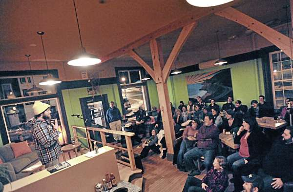 Storyteller Josh Melanson unveils his experience of decisions and choices to a crowd at Verve in Orono, Jan. 9, 2011.