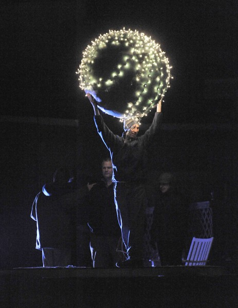 The dark angel of 2010 gets set to drop the ball signalling the start of 2011 in West Market square, bangor, Friday, Dec. 31, 2010.