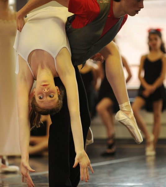 Erin Norris and Tommy McCarthy rehearse at the Thomas School of Dance in Bangor on Sunday, January 2, 2011 for Bangor Ballett's upcoming annual ballett, a piece called &quotNew York Concerto&quot by Ivy Forrest.   (Bangor Daily News/Kevin Bennett)
