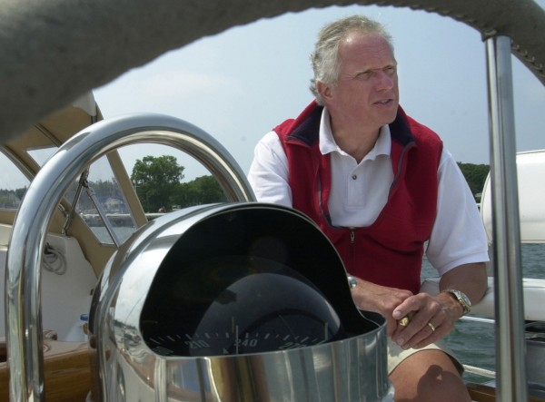 Phillip G. Bennett, senior sales director at Hinckley relaxes on a compnay boat. (BANGOR DAILY NEWS PHOTO BY KEVIN BENNETT)